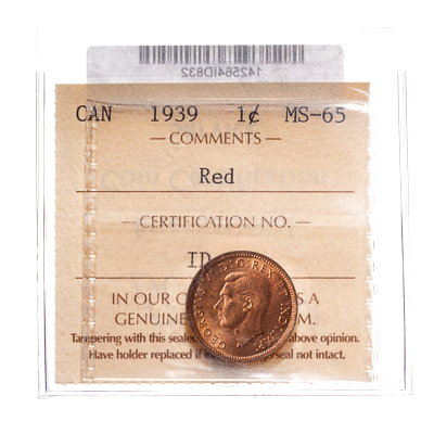 1 cent 1939 Red ICCS MS-65