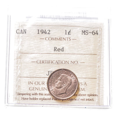 1 cent 1942 Red ICCS MS-64