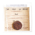 1 cent 1943  ICCS MS-63