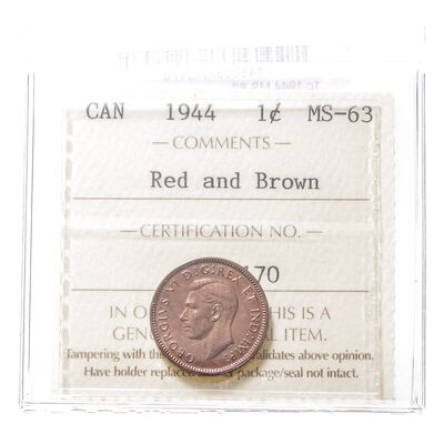 1 cent 1944 Red and Brown ICCS MS-63