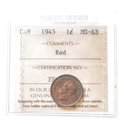 1 cent 1945 Red ICCS MS-63