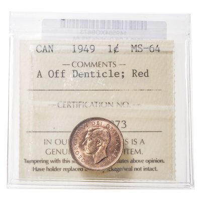 1 cent 1949 A Off Denticle ICCS MS-64