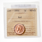 1 cent 1950 Red ICCS MS-65