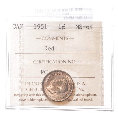 1 cent 1951  ICCS MS-64