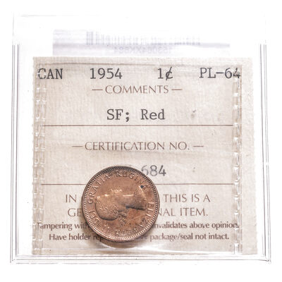 1 cent 1954 SF; Red ICCS PL-64