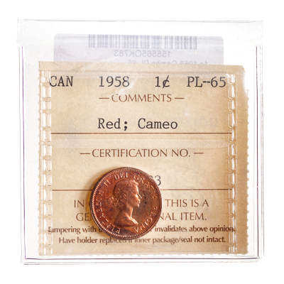 1 cent 1958 Red; Cameo ICCS PL-65
