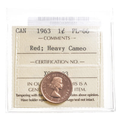 1 cent 1963 Heavy Cameo ICCS PL-66