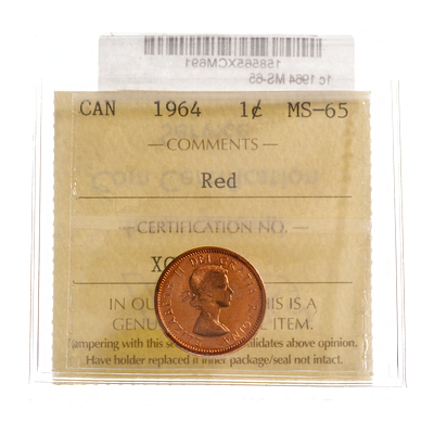 1 cent 1964 ICCS Red MS-65