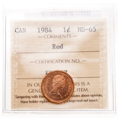 1 cent 1984 Red ICCS MS-65