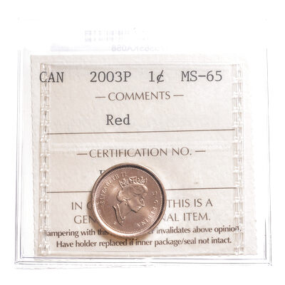 1 cent 2003P Red ICCS MS-65