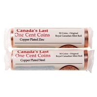 1 cent 2012 2 Roll Pack - 1 Each Copper Plated Zinc and Copper Plated Steel