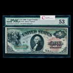 US $1 Legal Tender Note 1869 Allison-Spinner Large Red PMG AU-53