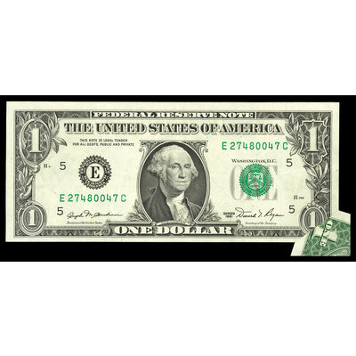US $1 Federal Reserve Note 1981 Blumenthal-Regan Printing Error Richmond, Virginia Non-Certified EF-45