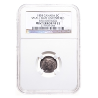 5 cent 1858 Small Date Mint Error NGC VF-25