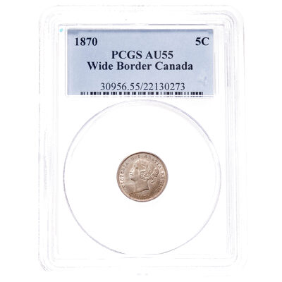 5 cent 1870 Wide Flat Border PCGS AU-55