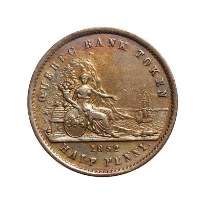 Prov. Of Canada 1/2 Penny Token 1852 PC-3 AU-58