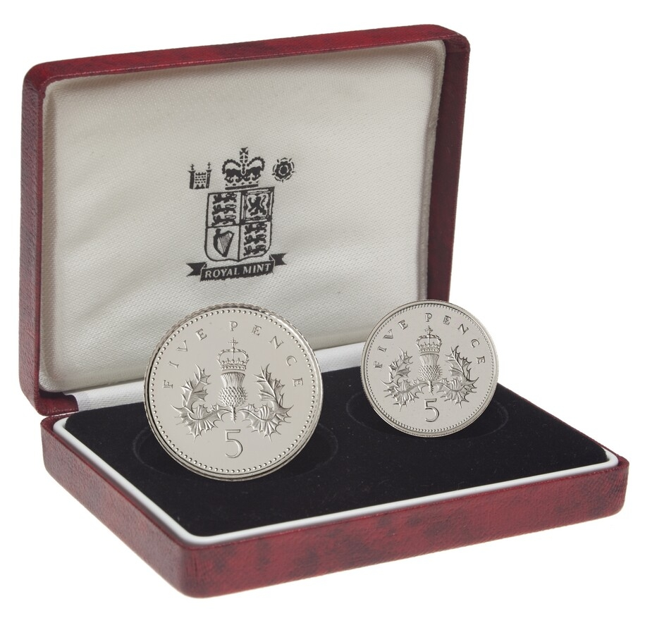 Great Britain 5 Pence 1990 Elizabeth II Silver Proof Five Two Coin Set