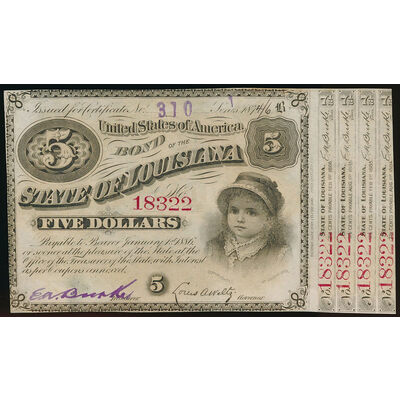 United States of America - 1886 - 5 dollars State of Louisiana 'Baby Bond'