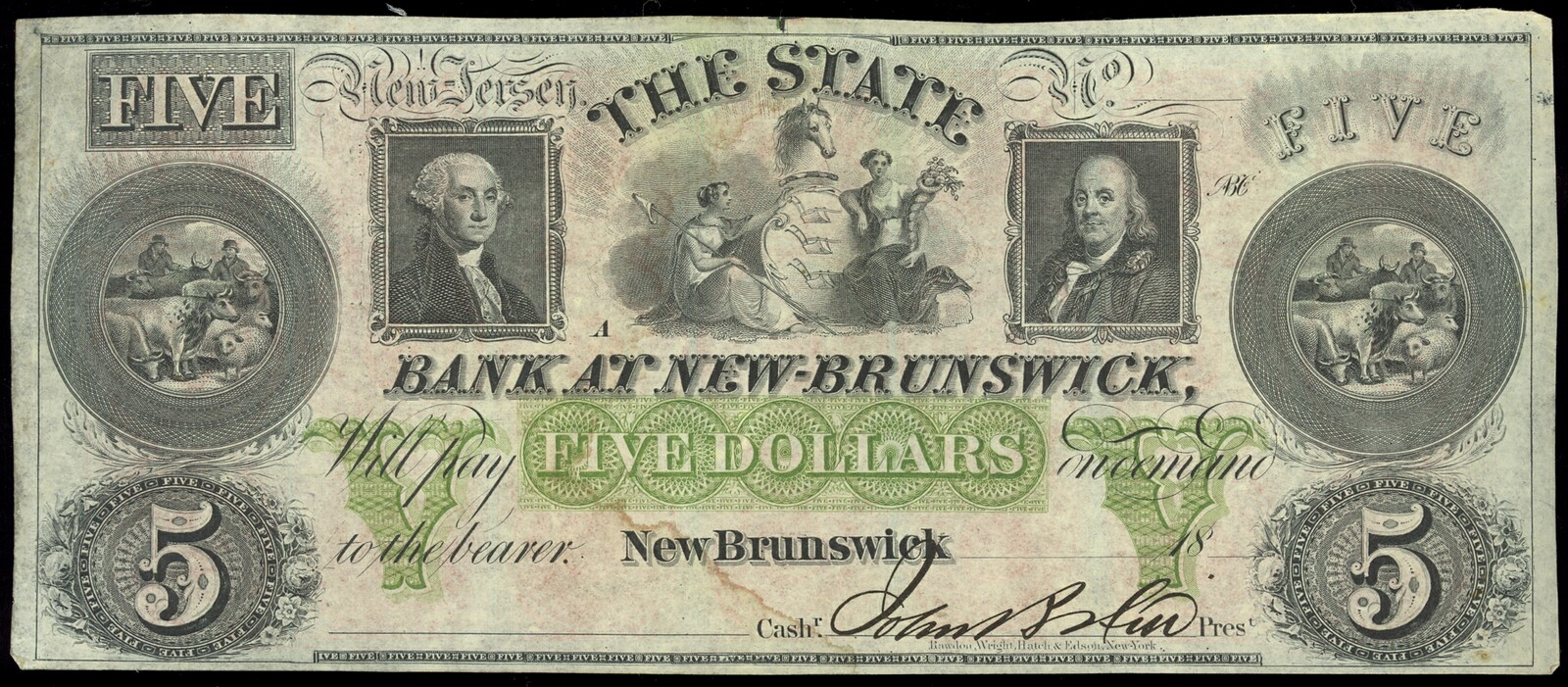 Us 5 Obsolete 1860 Circa S State Bank Of New Brunswick Non Certified Ef 40 United States Paper Money