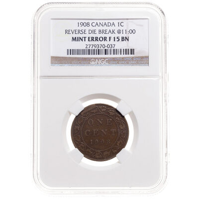 1 cent 1908 Reverse Die Break @ 11:00 NGC F-15