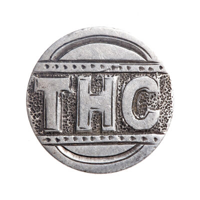 "Love Token - ""THC"" on a Victorian .925 silver 10c host coin"