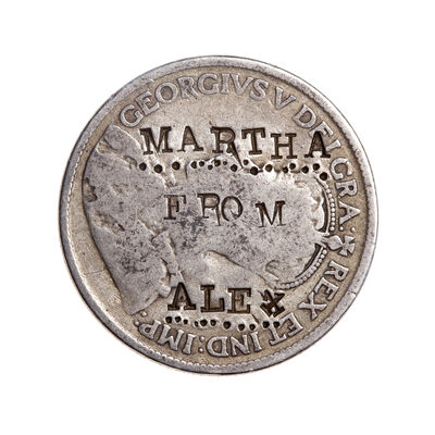 "Love Token - ""Martha From Alex"" on a George V .25 host coin"