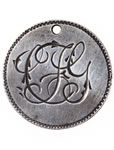 "Love Token - ""F.L.G."" (?) on a Victorian .05 silver host coin"