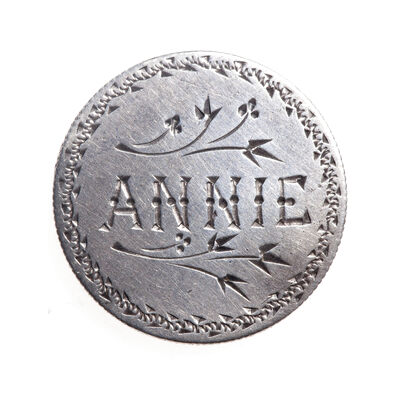 "Love Token - ""Annie"" on a Victorian .925 silver 10c host coin, with mounting bar"