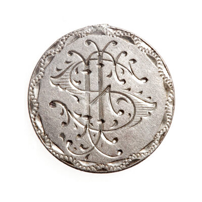 Love Token - F.I.S. (?)  on a Victorian .925 Silver 10 cent host coin, with loop for suspension