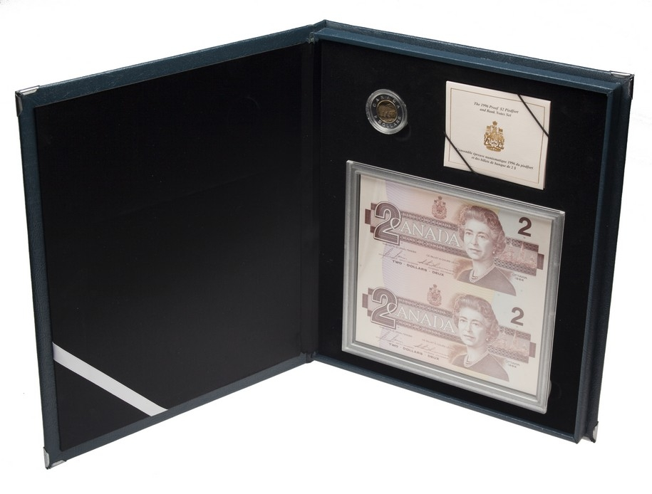 SALE 1996 Canada Proof $2 Piedfort Coin and Replacement Uncut Banknote Pair