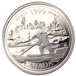 25c 1999 Millennium Proof Sterling Silver - March, The Log Drive