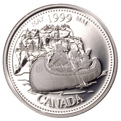 25c 1999 Millennium Proof Sterling Silver - May, The Voyageurs