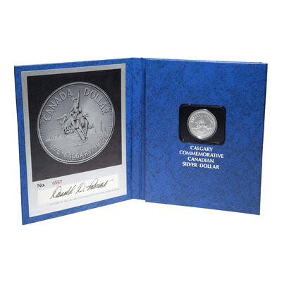 $1 1975 Calgary Commemorative Silver Dollar with Autographed Presentation Folder