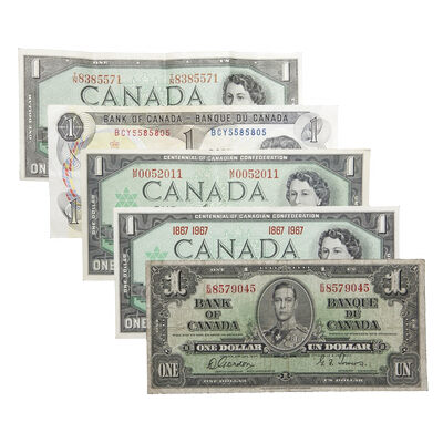 One Dollar Bill Collection 1937-1973 (5 notes)