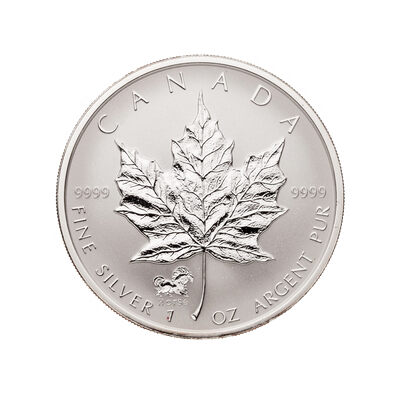 $5 2002 1 oz Fine Silver Maple Leaf Coin - Horse Privy Mark
