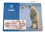 Polar Bear 'Canada' Uncirculated $2 Coin and Bank Note Set