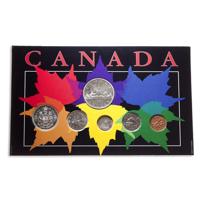 1965 Canadian Year Set Maple Leaves Collector Card with Coins