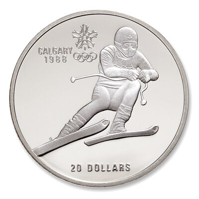 1985 $20 Calgary Olympic Winter Games - Downhill Skiing