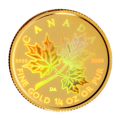 2001 $10 Maple Leaf Hologram - 1/4 oz Pure Gold Coin