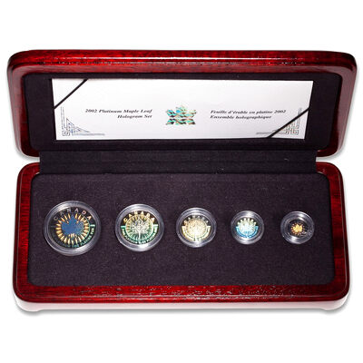 2002 Platinum Maple Leaf Hologram 5-Coin Set