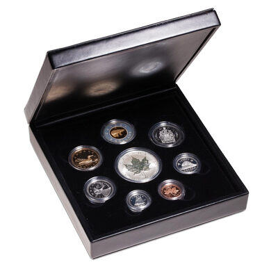 2001 Premium Proof Set with $5 Fine Silver Snake Privy Maple Leaf