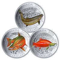 2016 $20 Canadian Salmonid - Pure Silver 3 Coin Set with Display Case and Fishing Hook