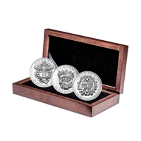 "2016 $25 Sculptural Art of Parliament ""Grotesque Green Man"" - Pure Silver 3 Coin Set in Display Case"