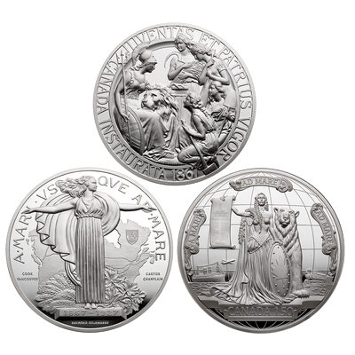 1867, 1927 and 2017 Confederation Medal - Pure Silver 3 Piece Set
