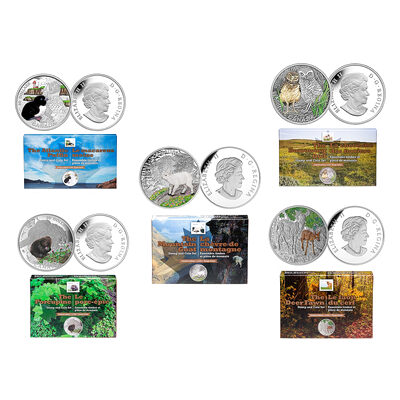2015 $20 Baby Animals Pure Silver 5-Coin and Stamp Set