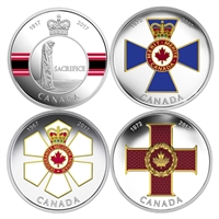 2017 $20 Canadian Honours - 4 Coin Pure Silver Subscription Set