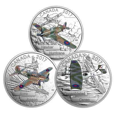 2017 $20 Aircraft of the Second World War - 3-Coin Pure Silver Set