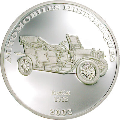 2002 10 Francs Historical Cars II: 1908 Berliet (Congo) - Pure Silver Coin