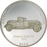 2002 10 Francs Historical Cars II: 1919 Hispano Suiza H6 (Congo) - Pure Silver Coin