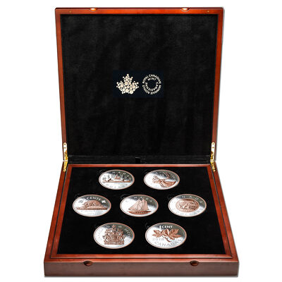 2018 Rose Gold-Plated Big Coin Series - Pure Silver 7 Coin Set + Display Case